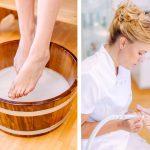 eine Kosmetikerin behandelt die Füße einer Kundin mit einem Fußpflege gerät