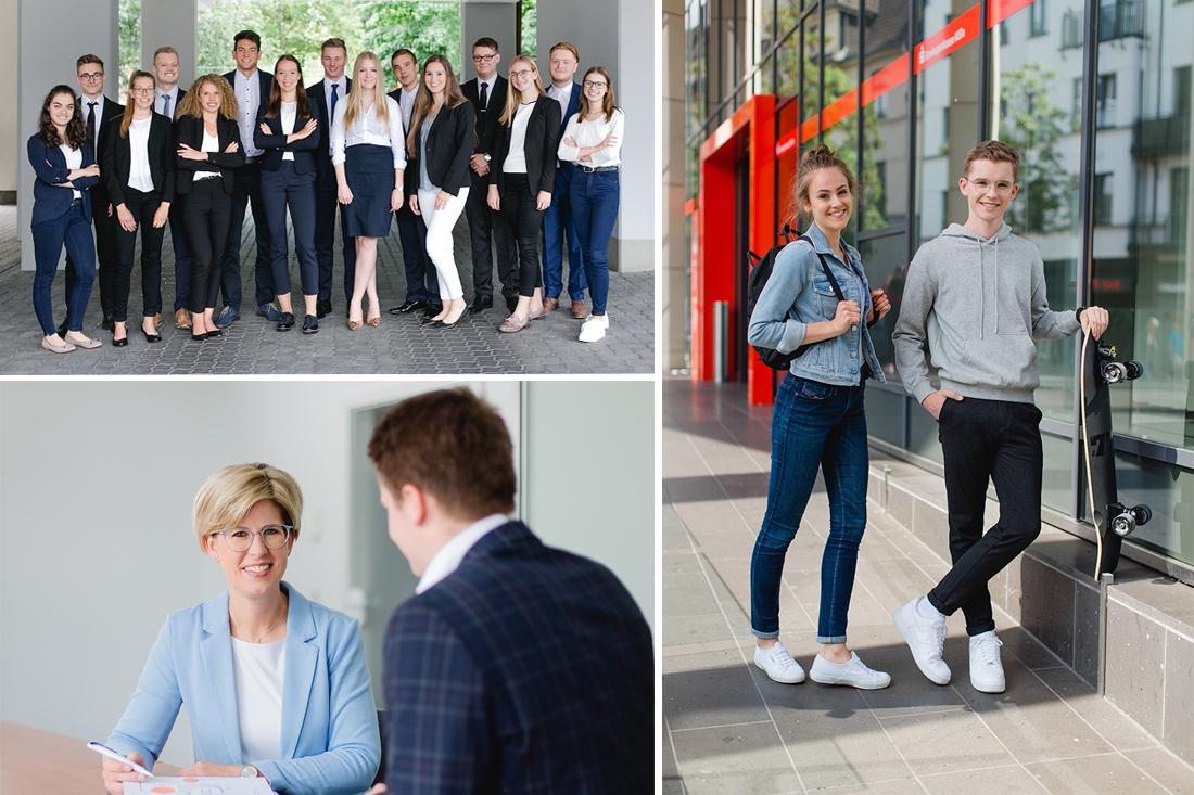 Auszubildende der Volksbank Oberberg so wie Portrait einer Businesskundenberaterinnen und zwei Auszubildende der Kreissparkasse Koeln